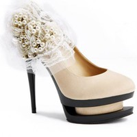 Satin Beaded Decorative Flower High  Heels Pumps $65.00