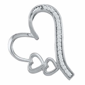 10kt White Gold Women's Round Diamond Triple Trinity Heart Pendant 1-12 Cttw - FREE Shipping (US/CAN)