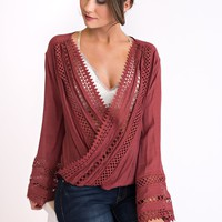 Kuna Plunging Boho Top (Brick Red)