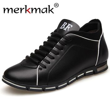 Merkmak New Height Increase Casual Men Shoes Autumn Genuine Leather British Style