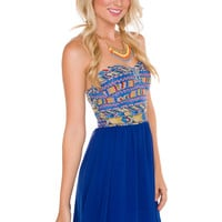 Nia Aztec Dress - Blue