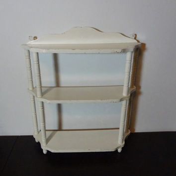 Vintage Three Tier Wooden Wall Shelf - White with Chippy Paint - Shabby Chic/Rustic Farmhouse Style