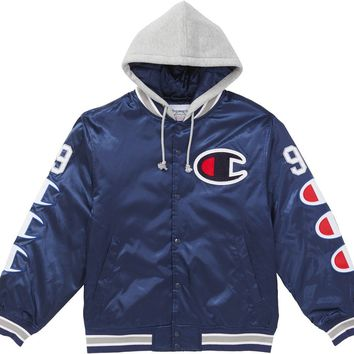 Supreme Champion Hooded Satin Varsity Jacket in Navy
