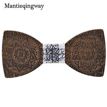 Mantieqingway Novelty Handmade Solid Wood Bowtie for Mens Classic Wooden Bow Tie