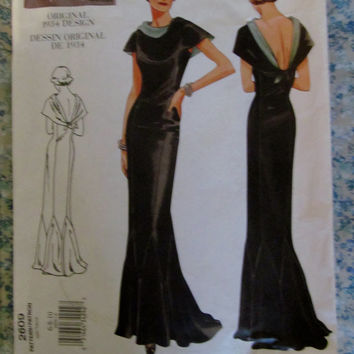 UnCut 1930's Original Design Reprint Vogue Sewing Pattern, 2609! 2 sizes to choose from, Size 6-10 & 18-22, Formal Evening Gowns, Prom