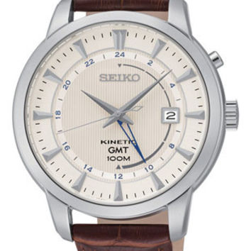 Seiko Mens Kinetic GMT Watch - White Dial - Stainless Steel Case - Leather Strap