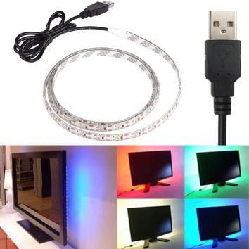 USB Power Supply LED Strip 3528 50 100 200 500cm nowaterproof Tape DC 5V TV Background Lighting DIY Decorative Lamp