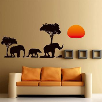 African Elephants Trees Wall Art Decal Animal Paper Sticker Living Room Decor Decals