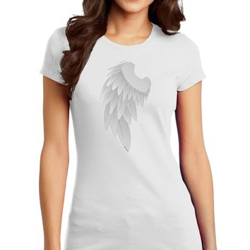 Single Left Angel Wing Design - Couples Juniors T-Shirt