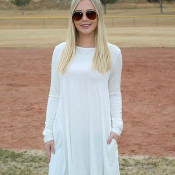 Ivory Long Sleeve Tunic with Pockets