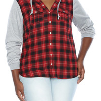 Plus-Size Plaid Hoodie - Rainbow