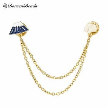 DoreenBeads 2016 Vintage Designer Enamel Cloud Hill Charm Costume Brooch Pins Jewelry Accessories for Women 17x13mm 12x12mm 1PC