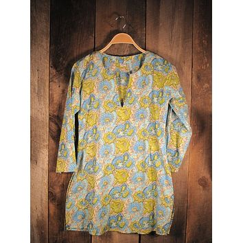 Cotton Tunic Top in Bright Vintage Floral