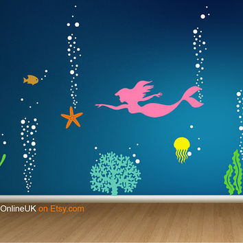 Sea life Wall Decal, Sealife Wall Sticker, Mermaid Wall Decal, Aquarium Nursery Decal, Ocean Coral Decal, Deep Sea Wall Decal Underwater