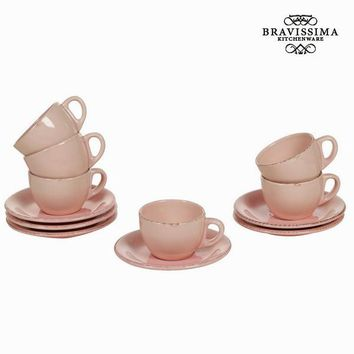 Set of 6 pink cup and saucers - Kitchen's Deco Collection by Bravissima Kitchen