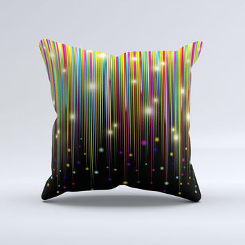 Falling Neon Color Strips Ink-Fuzed Decorative Throw Pillow