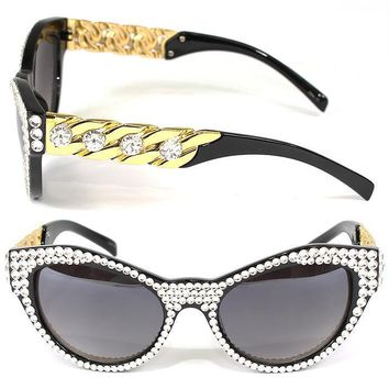 Swarovski Crystal Embellished Cat Eye Sunglasses