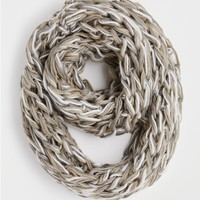 Tan Marled Chunky Knit Infinity Scarf
