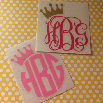Personalized Vinyl Princess Crown ONE Color Monogram Custom Car Laptop Tablet Phone Decal MULTIPLE SIZES