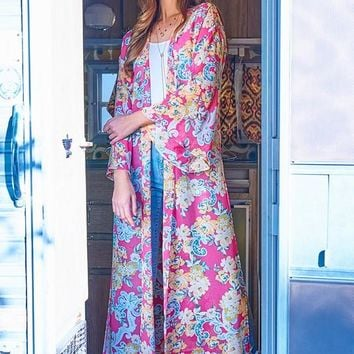 Long Sheer Floral Duster Kimono in Hot Pink
