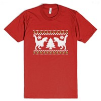 Funny UGLY Holiday Sweater Design-Unisex Red T-Shirt