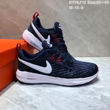 HCXX N694 Nike Air Zoom Pegasus 22 Flyknit XXII Breathable Sports Running Shoes Dark Blue Red