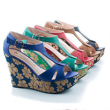Christy22 T-Strap Buckle Floral Print Corkscrew Platform Wedge Sandals