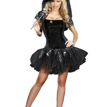 Adult Sexy Black Shiny Halloween Witch Cosplay Costumes