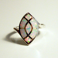 Opal Ringinlaid Opal RingWhite Opal RingSterling Silver by HWSTAR
