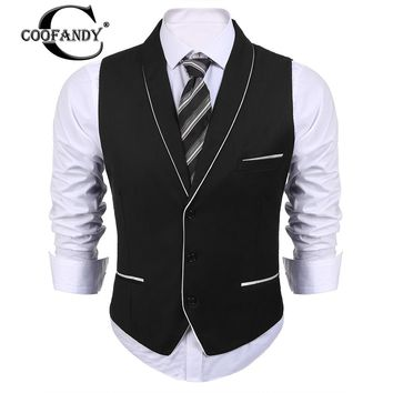 COOFANDY 2017 Male Clothes Top Selling Men Shawl Lapel Sleeveless Patchwork Slim Fit 3-Button Business Suit Vest  US Size