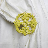 Holdback, Curtain Tie Backs, Set of two, Window Treatments, Curtain Accessories, Yellow, Cottage Home