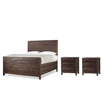 Redondo Pier Low Profile Bed CAL KING + Set of 2 Nightstands - CLEARANCE