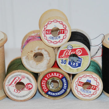 6 Vintage Sewing Thread Wooden Spools, Lily, Coats & Clark's, JP Coats, With Vintage Thread, Crafts, Sewing Projects, Upcycle, Repurpose