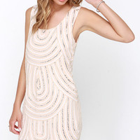 Flirty Flapper Beige Sequin Shift Dress