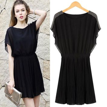 Summer Round-neck Batwing Sleeve Plus Size One Piece Dress [16056614938]