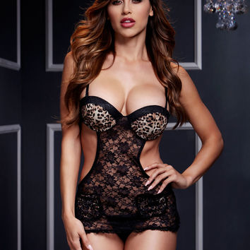 Leopard & Lace Teddy with Cut Out Detail