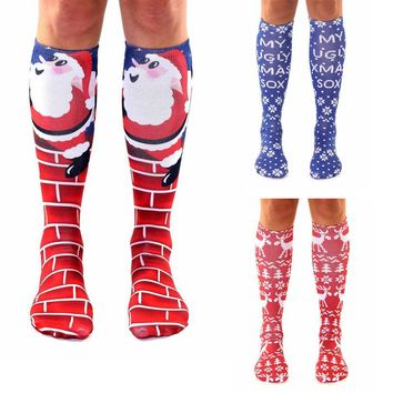 Women Over Knee Thigh High Christmas Cotton Stocking Long Knitted Boot Hosiery Socks