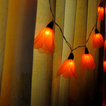 20 orange shaded Tulip flower string light patio hanging wedding living room bedroom party rustic country home garland