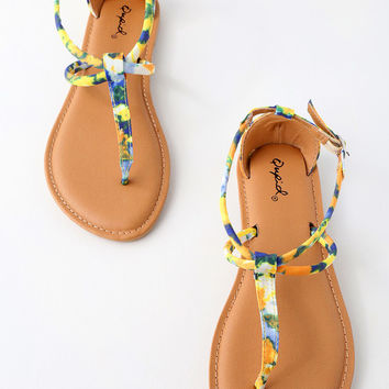 Shore Yellow Multi Print Ankle Strap Flat Sandals