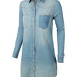 LE3NO Womens Classic Loose Fit Chambray Jean Denim Shirt Dress with Pocket (CLEARANCE)