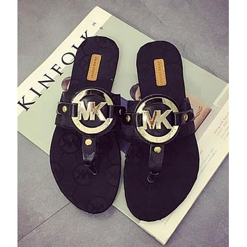 MK Michael Kors Trending Women Casual Stylish Sandal Slipper Shoes Black I13000-1