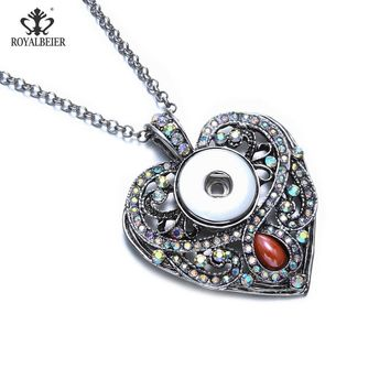 RoyalBeier Love Heart Rhinestone Snap Buttons Pendant Necklaces 5pcs/Lot Fit 18mm Snaps DIY Necklace For Charms Women Jewelry
