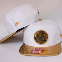 Golden State Warriors The City Gold Logo White and Gold Snake Skin New Era Snap Back Hat