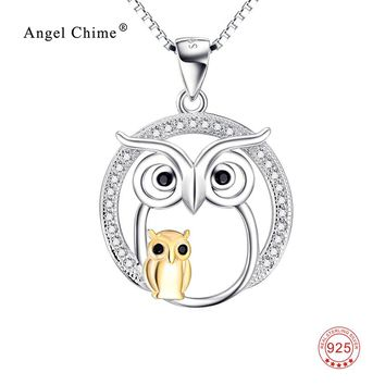 925 Sterling Silver Lovely Necklace Owl Mother & Child Crystal Pendants Necklaces Luxury Jewelry Mother's Day Gift