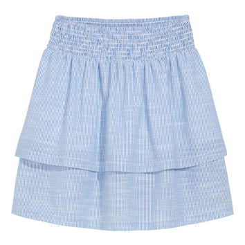 Striped tiered skirt - Light blue/White striped - Ladies | H&M GB