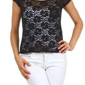 Sexy Floral Jacquard Lace Cap Sleeve Sheer Cropped Top Tee T-Shirt Blouse