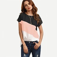 Cut Sew Patchwork Workwear Tops Color Block Casual Blouse Multicolor Short Sleeve Women Tops Blouse