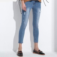 Women Skinny Denim Capri Jeans Stretch Female Jeans Vaqueros Slim Pencil Pants