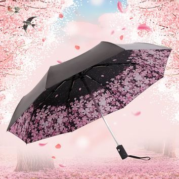CHUANGGE Cherry Blossom Automatic Umbrella Female Parasol Black Coating Sun and Rain Umbrella Women 210T Fabric Three-Folding