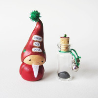 Miniature Santa Claus Figurine and Jar of Coal- Christmas Clay Sculpture Holiday Decoration- Better Not Pout